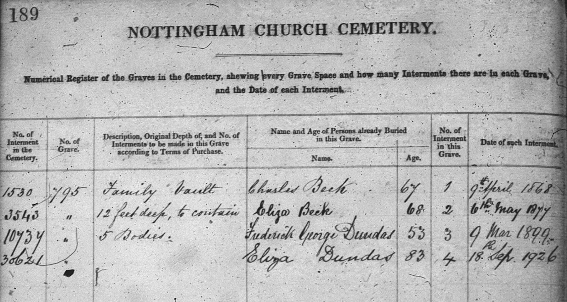 burial record